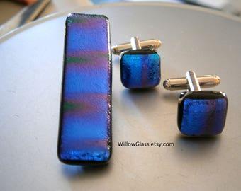 Dichroic Glass Cufflinks and Tiebar, Purple Blue Aqua Mens Accessories, Glass Cuff Links, Willow Glass, SRAJD