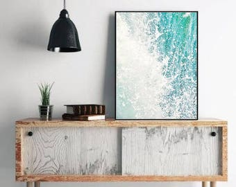 Abstract Photography, Blue Turquoise Abstract Art, Modern Beach Decor, Ocean Print, Wave Photo, Nautical Decor Printable Digital Download