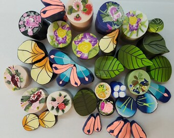 Polymer clay cane Ends and few Slices #2