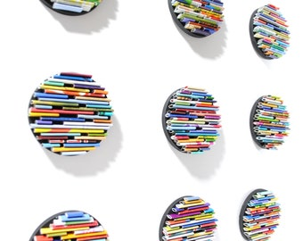 bright round wall art- set of 9- made from recycled magazines, colorful, unique, round, modern, bright