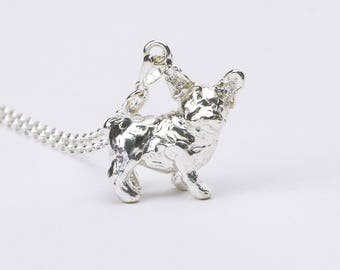 French Bulldog 3D Sterling Silver Necklace