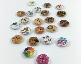 Set of 22 buttons round wood patterns various 1.5 cm