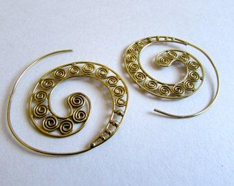 Spiral Brass Twirl Earrings handmade, Tribal Earrings, Nickel Free, Indian Jewellery, Gift boxed,Free UK postage BR6