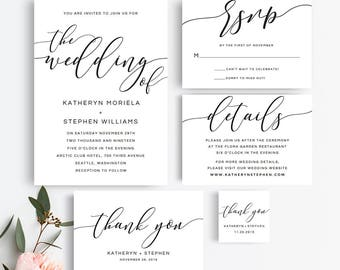 Wedding Invitations Printable Templates. Modern Calligraphy Wedding Invitations Suite. Printable Black & White Wedding Invitations Templates