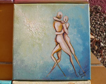 Blue Tango, 20 x 20 cm, original and unique, signed painting