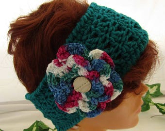 Warm hand-crocheted 100% acrylic yarn teal ear warmer headband with removeable variegated blue, red, green, & white chenille flower pin