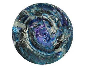 Round Wall Art | Abstract Painting | Fluid Artwork | Original Art on Canvas - 10""