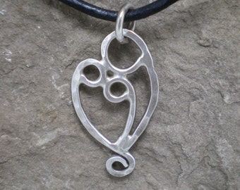 Mother and Two Child Pendant Necklace Sterling Silver
