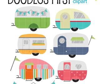 Cool Caravans Digital Clip Art for Scrapbooking Card Making Cupcake Toppers Paper Crafts