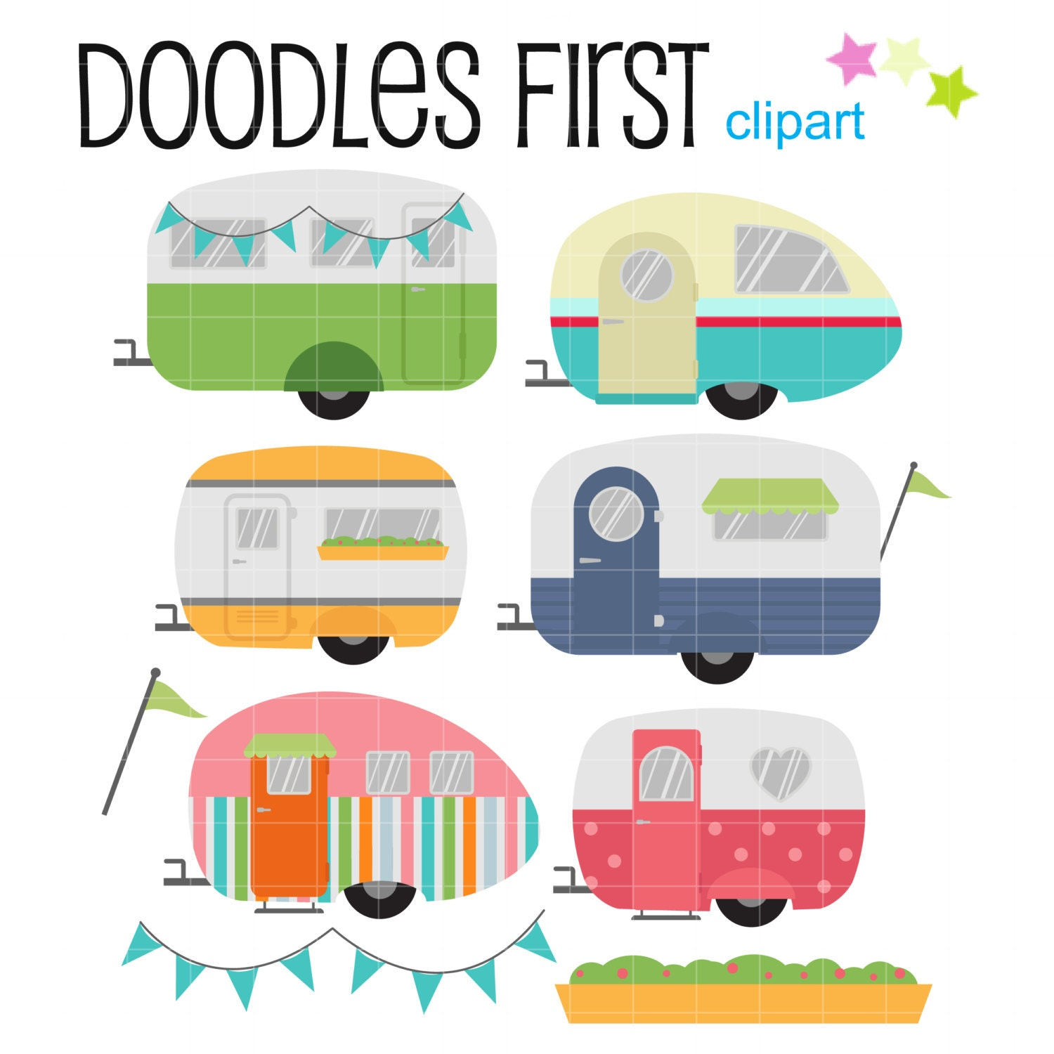cool caravans digital clip art for scrapbooking card making rh etsy com free printable clipart for scrapbooking printable clipart for scrapbooking