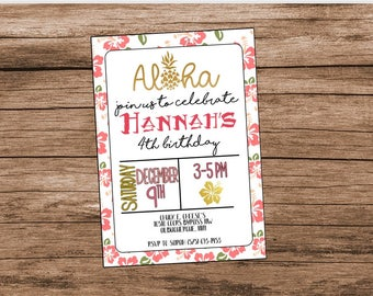 Hawaiian Birthday Invitation, Luau Party, Hawaiian Luau, Aloha Party Invitation, Pink and Gold, Digital File