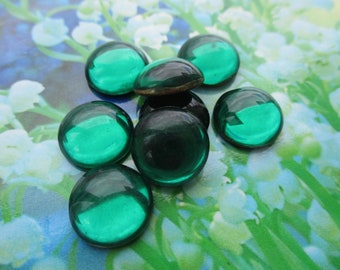 Vintage 13mm Emerald Smooth Domed Top Glass Cabs 4Pcs.