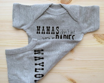 Mamas don't let your babies grow up to be cowboys/ Custom name bodysuit/ Cowboy bodysuit/ Country Baby/ Cowboy Baby