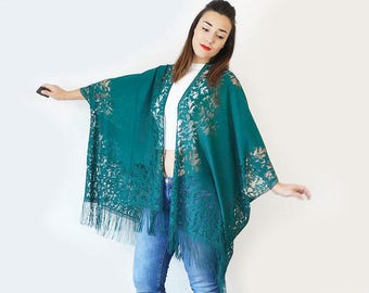 Teal Lace Kimono Boho Kimono Teal Kimono Fringe Kimono Fringe Pareo Girlfriend Gift For Mom/ KIMONO