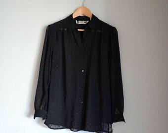 Vintage Black Sheer Polka Dot SK & Company Button-up Blouse