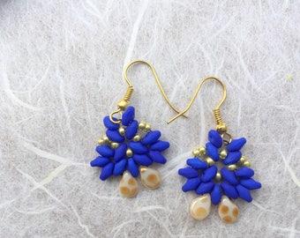 Dark blue earrings, Dark blue beaded earrings, Small elegant earrings, Wedding earrings, Superduo earrings, Gift for her, Triangle earrings