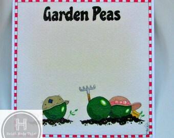 SALE REDUCED Handmade Funny Food Card. Cute Vegan Birthday Card. Vegetarian. Gardening Card Gardener Card. Notelets Notecards Garden Peas