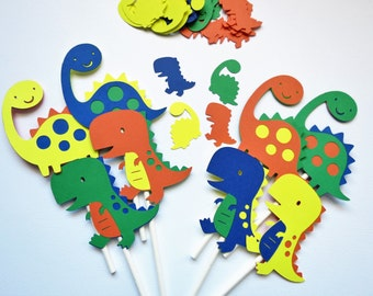24 Dinosaur Cupcake Toppers & FREE Confetti - Dinosaur Party