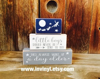 PETER PAN-Little boys should never be sent to bed, they always wake up a day older-baby blocks, Neverland, Boy, Girl, Disney, nursery blocks