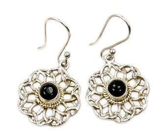 Black Onyx Earrings & Sterling Silver Dangle Earrings AF387 The Silver Plaza