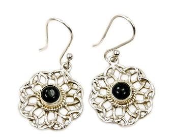 Black Onyx Earrings & Sterling Silver Dangle Earrings AF387 The Silver Plaza