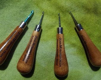 Joan Moshimer Hooks- turned maple handle with chrome hook, sizes fine, medium, course and primitive available below