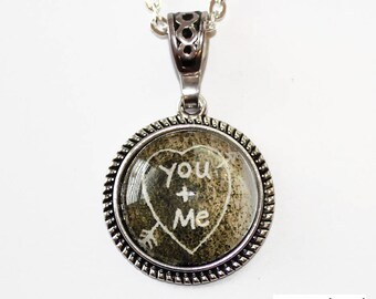 Valentine's Day You and Me Heart Carved in Tree Antique Silver Cabochon Glass Dome Pendant Necklace