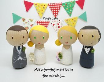 PEG topper de la torta de la muñeca, la novia y el novio Pastel de cumpleaños, peg muñeca novia y novio, novia, nupcial