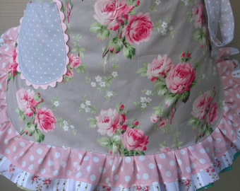 Women's Aprons -  Lavender Aprons - Handmade Aprons - Lavender Rose Aprons - Shabby Chic Pink Aprons - Annies Attic Aprons - Handmade Aprons