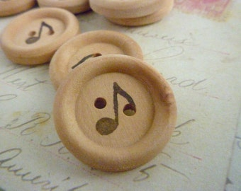 Wooden Buttons - 7/8 Inch Round - Stamped Music Note Collection - Pack of 10