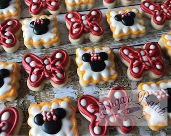2 Dozen Mini Minnie Mouse Polka Dot Decorated Cookies Set