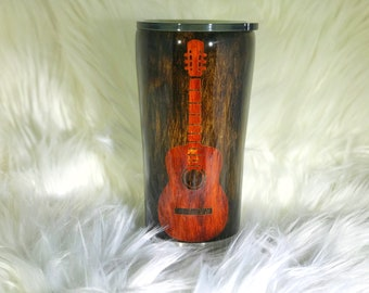 Acoustic Guitar, Wood Grain, Fathers Day, Tumbler, Ink Tumbler, Mens Tumbler, Mens Gift, Guitar, Guitar Player Gift, Band Gift