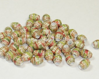 Paper Beads Loose Handmade Itty Bitty Distressed Holiday Stripes