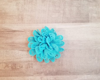 "4"" Blue Eyelet Flower, large flower puff, fabric flower, Eyelet flower, DIY supplies, Headband flower, Blue Flower, hollow fabric flower"