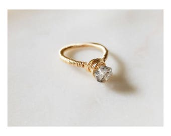 Handmade Herkimer Diamond Crystal Ring