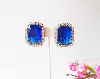 Blue Earrings, Vintage Earrings, Rhinestone and Blue, Glamorous Earrings, Costume Jewelry, Clip On, Princess Diana Style