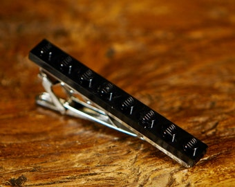 Men's Black Tie Clip - Large Tie Clip With Silver Clip - Funky Suit Clip Tie Bar For Weddings, Birthdays Or Men's Gift