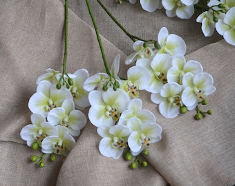 Mini Real Touch Orchids White Green Center Phalaenopsis True Touch Artificial Orchids For Silk Wedding Bouquets Wedding Centerpieces
