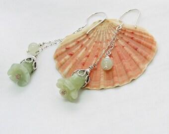 Sterling Silver Chain Drop Earrings with New Jade | Bell Flower Earrings | Botanical Earrings | Green Double Drops | A0226