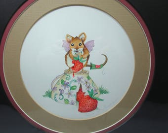 Fairy mouse, tea cup, strawberries watercolor original painting matted art, storybook art