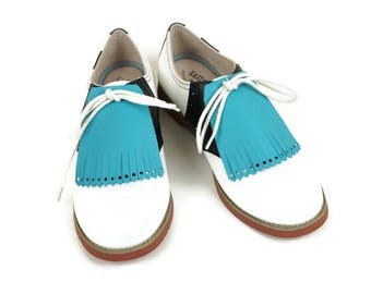 Turquoise Kilties for Ladies Golf Shoes, Golf Gifts, Gift Ideas for Mom, Golf Presents, Golf Gifts, Swing Dance Lindy Hop Tassel Shoes