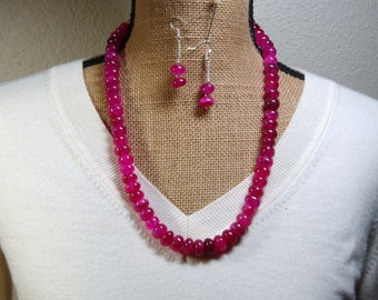 Big Genuine Earth Mined 672.00 Rich Red 14mm  Ruby Gemstones, 925 Silver Necklace and Earrings