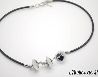 Necklace with 3 Lampwork Glass Beads