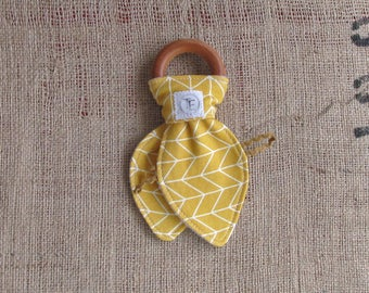 Yellow Montessori Teether. Eco Friendly Organic Toys. Natural Wooden Teethers. Natural Sensory Toys. Organic Baby Toys. Neutral Baby