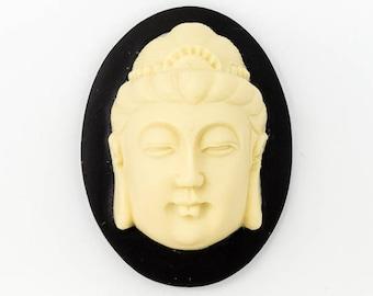 30mm x 40mm Ivory and Black Buddha Head Cameo #FPB105