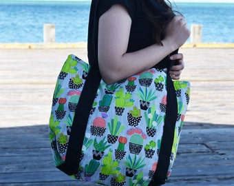 Cactus Print Tote Bag - Large potted cactus print tote bag, beach bag, shopping bag