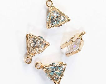 20 pcs of Cubic Zirconia  light gold charm 11x9mm, Triangle