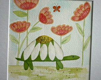 Original watercolor painting, turtle in garden, children's art, nursery art, whimsical, flowers, square matted art, green, orange