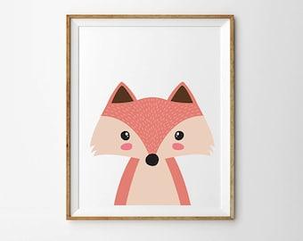 Fox print, 5 x 7 in, 8 x 10 in, Cute fox, Nursery wall decor, Cute art work, Fox poster, Kids fox print, Kids room decor, Nursery decor