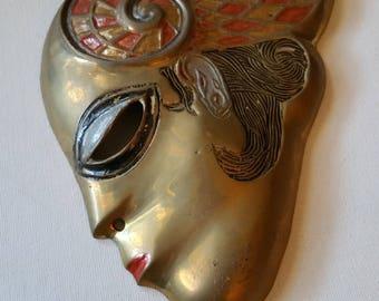 Art deco brass mask